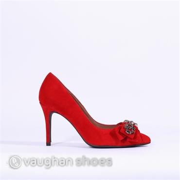 Marian Stud Detail Bow High Heel - Red Suede