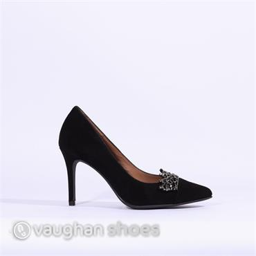 Marian Suede High Heel Diamante Detail - Black Suede