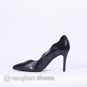 Marian Scalloped Edge High Heel - Navy Glitter