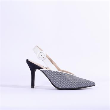 Marian V Cut Sling Back High Heel - Navy Combi