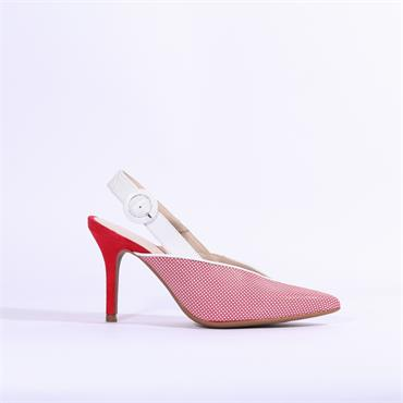 Marian V Cut Sling Back High Heel - Red Combi