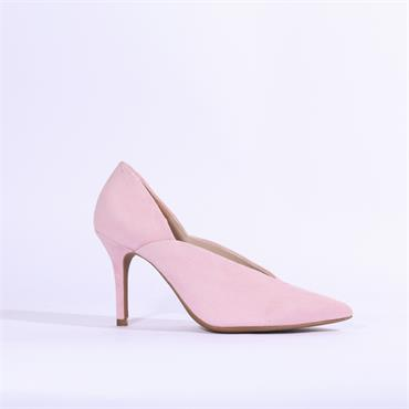 Marian V Cut Pointed Toe Suede High Heel - Baby Pink