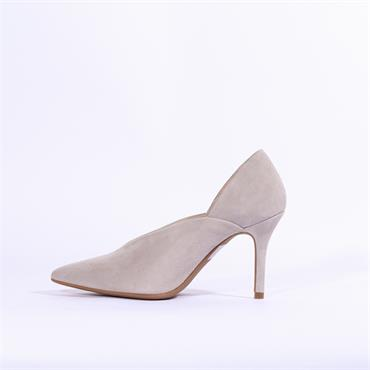 Marian V Cut Pointed Toe Suede High Heel - Light Grey