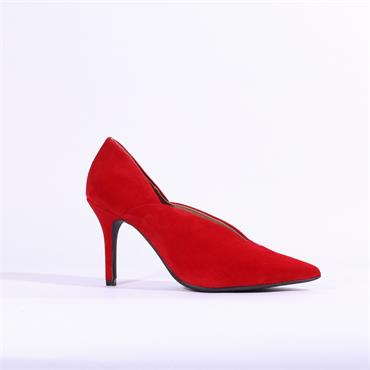 Marian V Cut  High Heel Callie - Red Suede