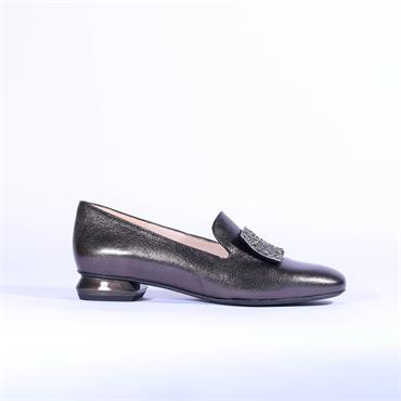 Marian Square Diamante Loafer Celia - Charcoal Leather