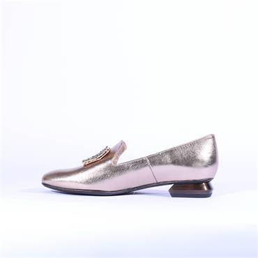 Marian Square Diamante Loafer Celia - Gold Leather