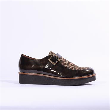 Marroqui Sanchez Platform Buckle Shoe - Black Leopard