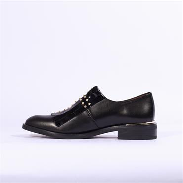 Marroqui Sanchez Stud Tassel Loafer Nery - Black Leather