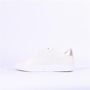 Millie & Co Casual Trainer Leopard Panel - White Combi