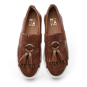Moda In Pelle Ardena Apron Front Shoe - Tan Leather