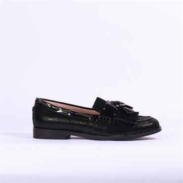 Moda In Pelle Elainie Loafer With Tassel - Black Leather