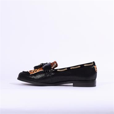 Moda In Pelle Elainie Loafer With Tassel - Black Leopard Combi