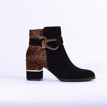 Moda In Pelle Loona Ankle Boot - Black Leopard Combi