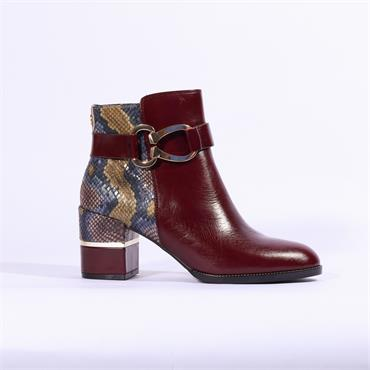Moda In Pelle Loona Ankle Boot - Burgundy Snake