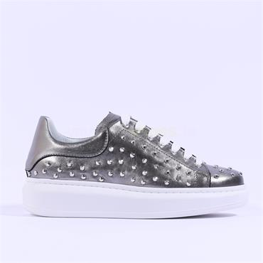 Marco Moreo Studded Lace Trainer Eros - Silver Metallic