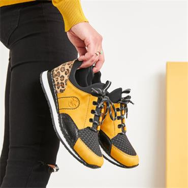 Rieker Morelia Laced Trainer - Yellow Combi
