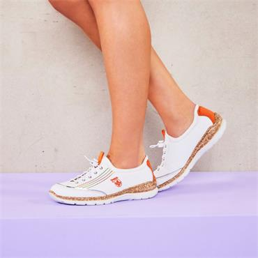 Rieker Memory Foam Elasticated Laces - White Orange