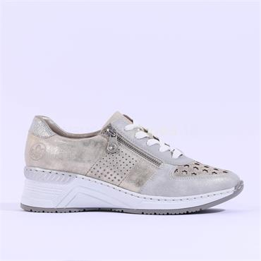 Rieker Wedge Trainer Perforated Detail - Gold Metallic