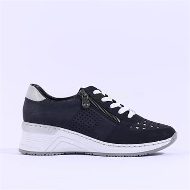 Rieker Wedge Trainer Perforated Detail - Navy Silver