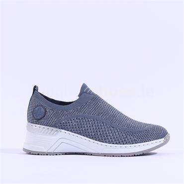Rieker Trainer Knitted Upper - Blue Silver