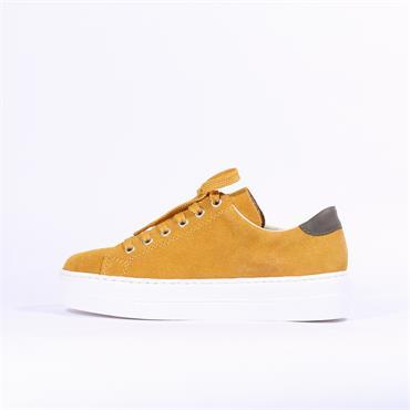 Rieker Laced Platform Side Zip Samti - Mustard