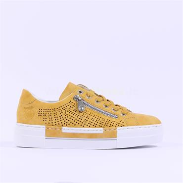 Rieker Perforated Laced Trainer Morelia - Yellow