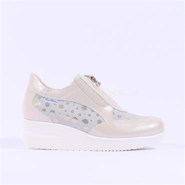 Marco Moreo Zip Front Wedge Shoe Lola - Cream Gold
