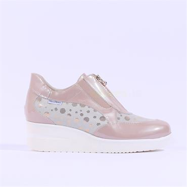 Marco Moreo Zip Front Wedge Shoe Lola - Rose Patent
