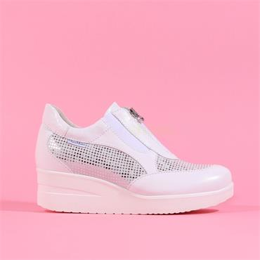 Marco Moreo Zip Front Wedge Shoe Lola - White Leather