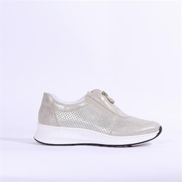 Rieker Aqalta Slip On Front Zip Detail - Silver