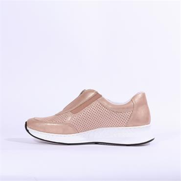 Rieker Aqalta Slip On Front Zip Detail - Rose