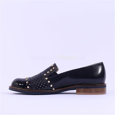 Marco Moreo Perforated Stud Loafer Lynn - Navy Leather