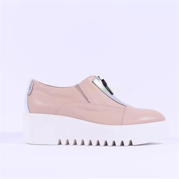 Marco Moreo Front Zip Platform Laurie - Nude Leather