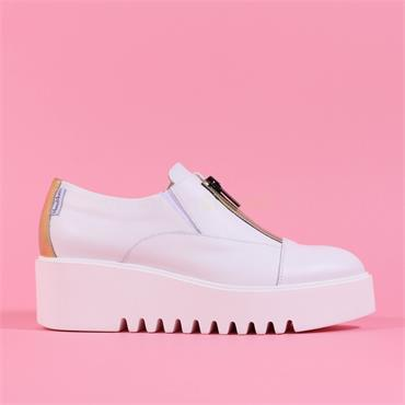 Marco Moreo Front Zip Platform Laurie - White Gold Leather