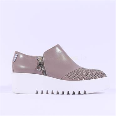 Marco Moreo Stud Detail Platform Shoe - Taupe Leather