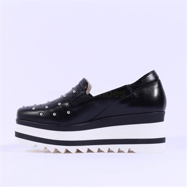 Marco Moreo Slip On Studded Toe Luna - Black Leather