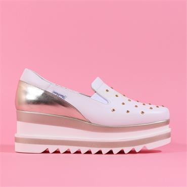 Marco Moreo Slip On Studded Toe Luna - White Leather
