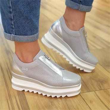 Marco Moreo Front Zip Platform Shoe Luna - Grey Leather