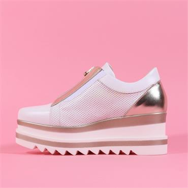 Marco Moreo Front Zip Platform Shoe Luna - White Gold