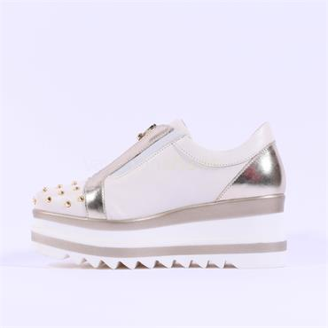 Marco Moreo Zip Front Studded Toe Luna - Cream Gold