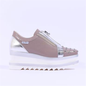Marco Moreo Zip Front Studded Toe Luna - Taupe Leather