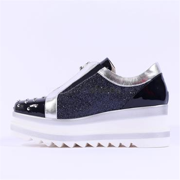 Marco Moreo Studded Toe Zip Front Luna - Navy Sparkle