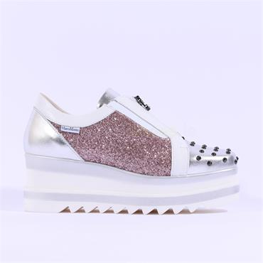 Marco Moreo Studded Toe Zip Front Luna - Pink Silver