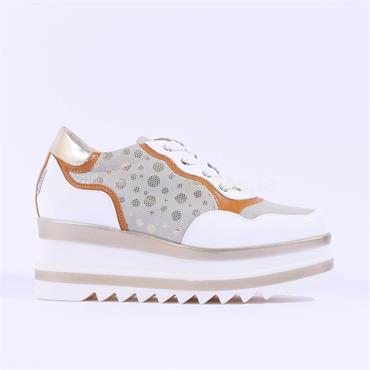 Marco Moreo Lace Up Side Detail Luna - White Gold