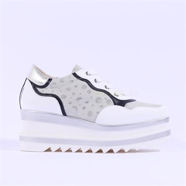 Marco Moreo Lace Up Side Detail Luna - White Silver