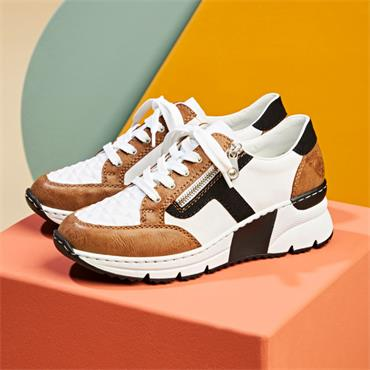 Rieker Laced Trainer Side Zip - White Tan Black