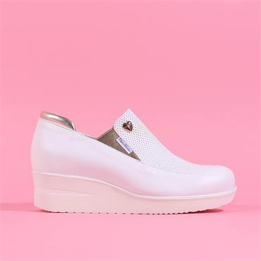 Marco Moreo Slip On Wedge Lola - White Leather
