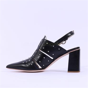 Marco Moreo Stud Pointed Toe Heel Marzia - Black Leather