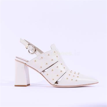 Marco Moreo Stud Pointed Toe Heel Marzia - Cream Leather