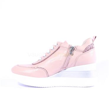 Marco Moreo Lace Wedge Shoe Gianna - Pink Leather